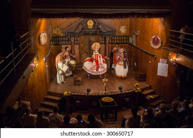 FORT COCHIN, India -  January 10, 2015: Kathakali performer in the virtuous pachcha role in Cochin on January 10, 2015 in South India. Kathakali is the ancient classical dance form of Kerala.