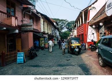 Fort Cochin Kerala India December 31, 2018 View of unknown people walking in Princess street at Fort Cochin in the evening