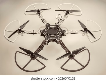 FORT COLLINS, CO, USA, December 13,  2014:  Radio controlled DJI  F550 Flame Wheel  hexacopter drone with propeller guards. This drone is assembled from  a kit,