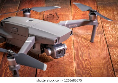Fort Collins, CO, USA - December 27, 2018: DJI Mavic 2 pro with Hasselblad camera against rustic wood - an andvanced prosumer drone.