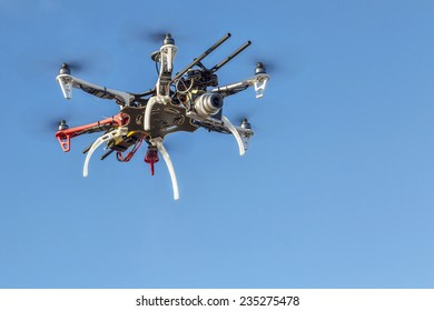 FORT COLLINS, CO, USA, December 2,  2014:  DJI  F550 Flame Wheel  hexacopter drone, assembled from a kit, flying with a small prosumer camera.