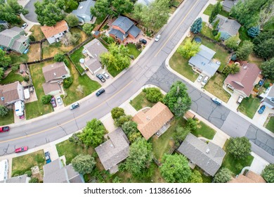 Fort Collins, CO, USA - July 19, 2018:: Aerial  view of a typical residential neighborhood along Front Range of Rocky Mountains in summer scenery.