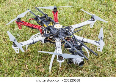 FORT COLLINS, CO, USA, November 22,  2014:  DJI F550 Flame Wheel  hexacopter drone, assembled from a kit, ready to fly with a prosumer camera.