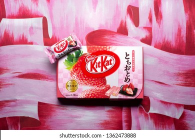 Fort Collins, CO/USA - November 26, 2018 - A Japanese Tochiotome Strawberry Kit Kat, specialty produce of the Tochigi prefecture of Japan.