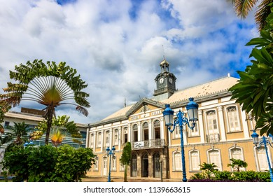 Fort de France, Martinique Island - December 2017. The ancient town hall of Fort-de-France and Aime Cesaire theater. Fort de France is the capital of Martinique island, Lesser Antilles.