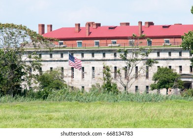 FORT DELAWARE, DELAWARE CITY, DE - AUGUST 1: Fort Delaware State Park, Historic Union Civil War Fortress that housed Confederate Prisoners on August 1, 2015
