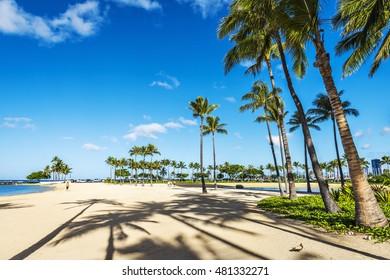 Fort DeRussy boardwalk on Waikiki beach, Honolulu, Hawaii, USA