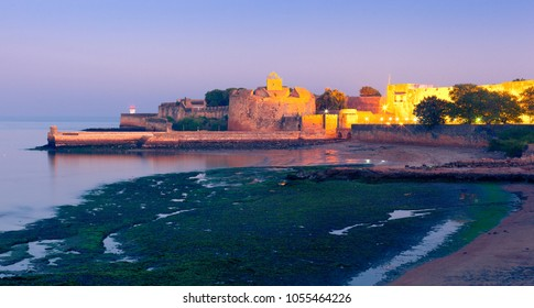 Fort Diu at night. Daman and Diu, India