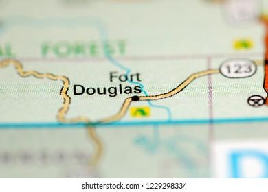 Fort Douglas. Arkansas. USA on a geography map