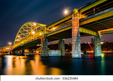 Fort Duquesne Bridge spans Allegheny river in Pittsburgh, Pennsylvania