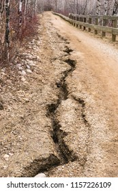 Fort Edmonton Foot bridge 2018 spring trail erosion