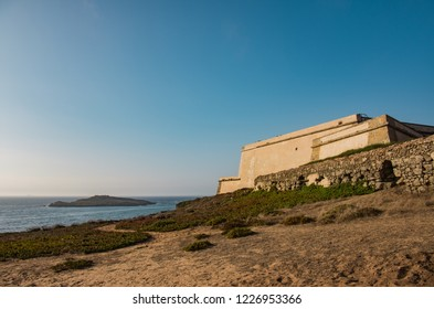 Fort facing the Atlantic ocean and the Island of Pessegueiro in Porto Covo, Portugal