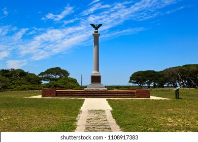 Fort Fisher Confederate Monument at Kure Beach, North Carolina.  Bronze eagle on top.