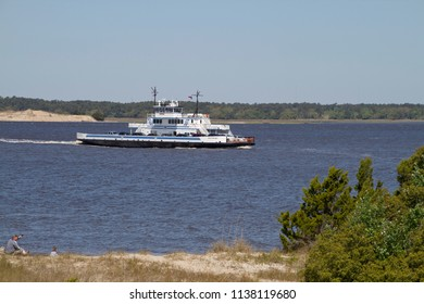 FORT FISHER , NORTH CAROLINA, USA - APRIL 20, 2018: The Southport - Fort Fisher Ferry boat, a year-round vehicle and passenger ferry that runs between between Southport and Fort Fisher, North Carolina