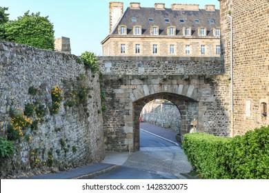 Оld fort gates in Upper Granville. Granville, Normandy. Manche region, France.