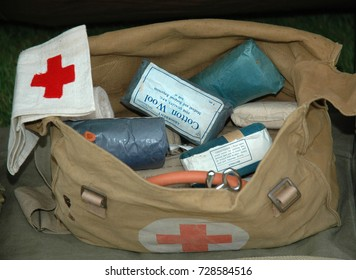 FORT GEORGE, SCOTLAND, UK - AUGUST 11 2007: .A bag of first aid equipment used in the second world war taken at are-enactment.