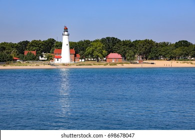 The Fort Gratiot lighthouse on the St. Clair River in Michigan, is the oldest lighthouse in the state, established in 1825.