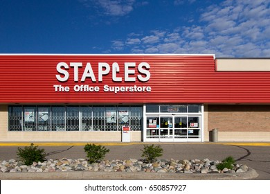 Fort Gratiot, Michigan, USA -  May 30, 2017: Founded in 1989, Staples describes itself as the first  office superstore. The company now has  over 1500 stores in North America.