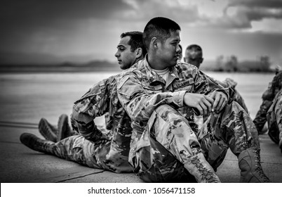 Fort Huachuca / U.S.A. - Aug 19, 2016/ Two Soldiers Back to Back