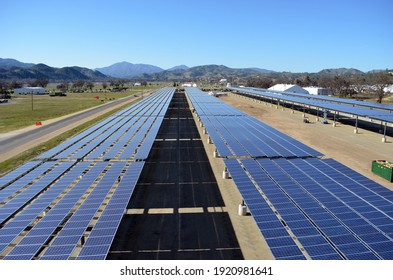 Fort Hunter Liggett, California - March 12, 2013: Solar panel arrays form a canopy at a construction site of the USA Army!
