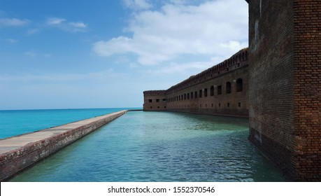 Fort Jefferson, Dry Tortugas National Park on a beautiful sunny day, overlooking the calm turquoise blue ocean