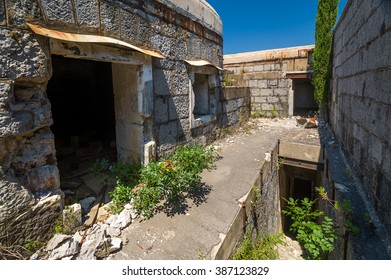 Fort Kabala inside view. Stone walls and abandoned buildings of old military fortress. Kotor, Montenegro.