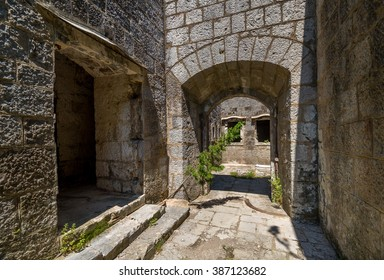 Fort Kabala main gate and entrance to old abandoned fortress. Historical heritage and touristic attraction, Montenegro.
