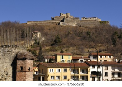 Fort Lagarde and Prats de Mollo, Le Preste,Village, Languedoc Roussillon, Pyrenees Orientales, France - Shutterstock ID 375656230