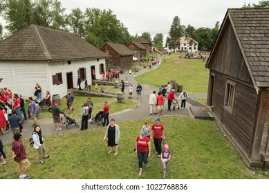 Fort Langley, British Columbia, Canada - July 1, 2016:  Visitors at the fort, a national historic site, on Canada Day.
