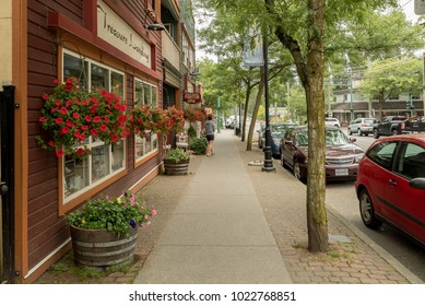 Fort Langley, British Columbia, Canada - July 1, 2016:  Shops along Glover Road on Canada Day.