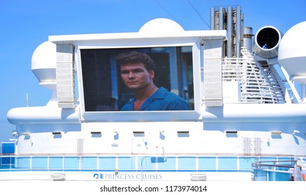 FORT LAUDERDALE 11 2 2012: Patrick Swayze in dirty dancing on giant screen Star Princess cruise ship. Princess Cruises agreed to have their cruise ships featured in the television sitcom The Love Boat