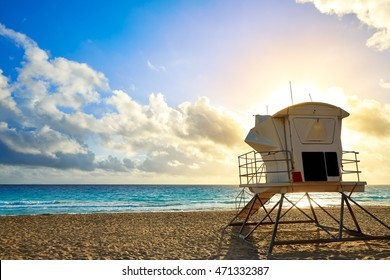 Fort Lauderdale beach morning sunrise in Florida USA baywatch tower