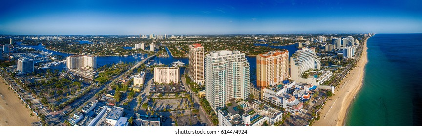 Fort Lauderdale coastline , aerial view of Florida.