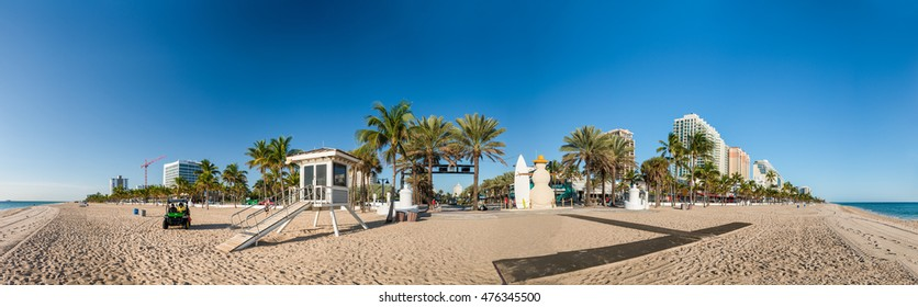 FORT LAUDERDALE - FEBRUARY 25, 2016: Fort Lauderdale Beach Boulevard on a beautiful day. The city is a famous destination in Florida.