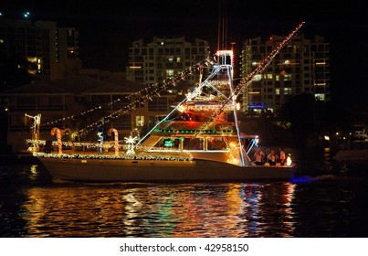 FORT LAUDERDALE, FL - DECEMBER 12: The 2009 Winterfest Boat Parade with grand marshals Alonzo Mourning and Kim Kardashian on December 12, 2009 in Fort Lauderdale, Florida.