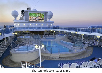 FORT LAUDERDALE, FL - NOV 2: Upper deck of Princess cruise ship on 11-2-2012 in Fort Lauderdale Florida. Princess Cruises agreed to have their cruise ships featured in the television sitcom The Love Boat,