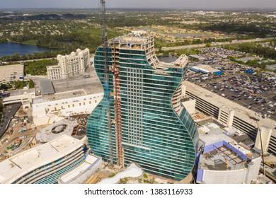 FORT LAUDERDALE, FL, USA - APRIL 15, 2019: Aerial photo of the Hard Rock guitar shaped resort hotel under construction