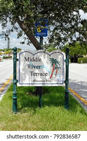 Fort Lauderdale, FL, USA - August 25, 2014: Middle River Terrace Welcomes You entrance sign to this neighborhood. Middle River Terrace welcoming sign in a median