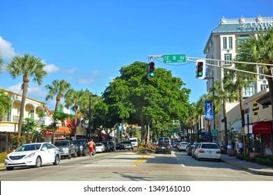 FORT LAUDERDALE, FL, USA - DEC 18, 2012: Las Olas Boulevard at night, Fort Lauderdale, Florida, USA.