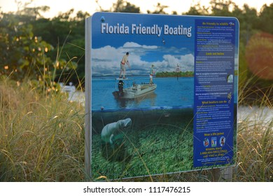 Fort Lauderdale, FL, USA - DECEMBER 25, 2017: Florida Friendly boating information sight in Dr Von D. Mizell-Eula Johnson State Park near Miami, Florida