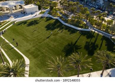 FORT LAUDERDALE, FL, USA - JANUARY 9, 2021: Aerial photo of the new Las Olas Oceanside Park Fort Lauderdale Beach FL