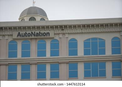 FORT LAUDERDALE, FL, USA - JULY 8, 2019: Autonation tower building Downtown Fort Lauderdale FL