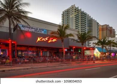 FORT LAUDERDALE, FL, USA - MARCH 29, 2018: Long exposure image of Rock Bar Fort Lauderdale Florida USA