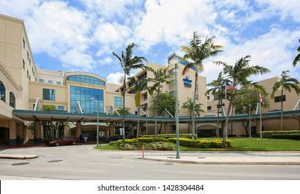 FORT LAUDERDALE, FL, USA - MAY:  The main entrance to Broward Health Medical Center, previously known as Broward General Hospital.  The hospital opened it's doors in 1938 as seen on May 31, 2019.