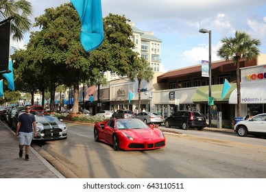 FORT LAUDERDALE, FL, USA - MAY 14:  Las Olas Boulevard a popular upscale tourist destination for shopping and dining is considered the heart and soul of Fort Lauderdale as seen on May 14, 2017.