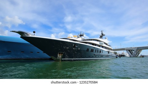FORT LAUDERDALE, FL, USA - NOVEMBER:  Phoenix 2, a 295' luxury mega yacht with a stainless steel bird prow on display at the Fort Lauderdale International Boat Show as seen on November 1, 2018.