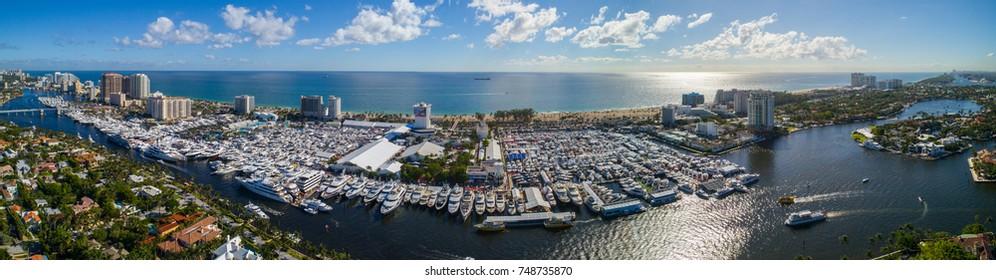 FORT LAUDERDALE, FL, USA - NOVEMBER 4, 2017: Drone image 2017 Fort Lauderdale Beach Florida International boat show