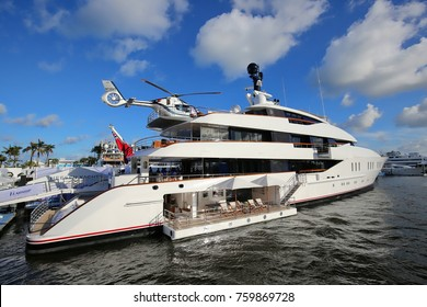 FORT LAUDERDALE, FL - USA: NOVEMBER 3:  Luxury mega yacht with personal helicopter on display at Bahia Mar Yachting Center at the Fort Lauderdale International Boat Show as seen on November 3, 2017.