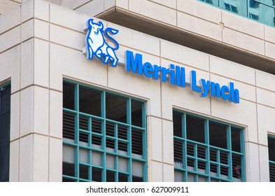 FORT LAUDERDALE, FLA/USA - APRIL 10, 2017: Merrill Lynch exterior sign and logo. Merrill Lynch Wealth Management is the wealth management division of Bank of America.
