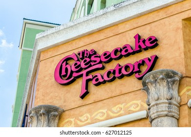 FORT LAUDERDALE, FLA/USA - APRIL 10, 2017: The Cheesecake Factory exterior. The Cheesecake Factory, Inc. is a restaurant company and distributor of cheesecakes based in the United States.